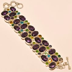 AFRICAN AMETHYST WITH FACETED MULTI CUT STONE AWESOME - 925 SILVER BRACELET  #Handmade
