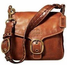 Coach Bleeker Whiskey Leather Flap Shoulder Bag