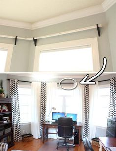 Black curtain rods, would you believe they are just PVC pipe. | 30 Low-Budget Makeovers You Could Do With Spray Paint