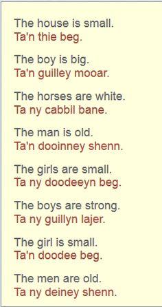 Learning Manx--simple descriptive sentences in present tense. Manx Language, Celtic Culture, Isle Of Man, Cumbria, Languages, Brittany, Personal Development, Sentences, Roots