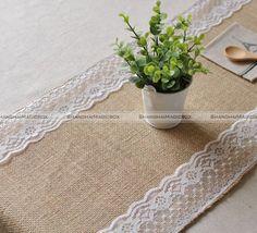 "SMB 12"" X 71"" Burlap Lace Table Runner Natural Jute Rustic Wedding Decoration 41115329"