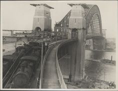 Trains on the Harbour Bridge, 1932 Sydney City, Sydney Harbour Bridge, Harbor Bridge, Heroic Age, Sydney New South Wales, Bridge Construction, Railroad Bridge, Arch Bridge, Historical Pictures
