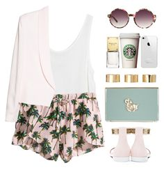 """Palm trees on my shorts"" by endimanche ❤ liked on Polyvore featuring MINKPINK, H&M, MANGO, Givenchy, Matthew Williamson, Charlotte Olympia, Michael Kors and ASOS"