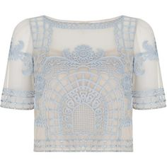 Temperley London Delphia Crop Top (104.280 RUB) ❤ liked on Polyvore featuring tops, blue mix, embroidered crop top, blue top, sheer embroidered top, see through tops and sheer top