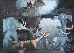 Józef Wilkoń - Zwierzęta, technika mieszana, 31 cm x 43 cm