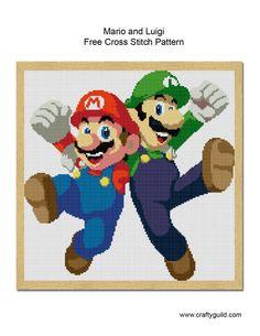 mario and luigi free cross stitch pattern-01