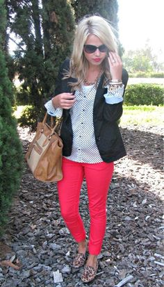 Red slacks with leopard flats.