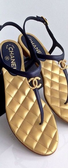 Chanel Quilted Thong Sandals | black and gold summer sandals ♡