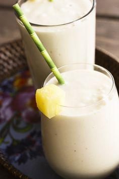 Vegan Pia Colada Smoothie 1 can (20 ounces) unsweetened crushed pineapple in juice 1 can (13.5 ounces) coconut milk 3 bananas, peeled and frozen Divide in glasses. ** Add protein powder or plain Greek yogurt
