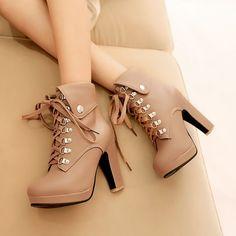 Heels:Approx 12 cm Platform:Approx 3.5 cm Shaft:Approx 12.5 cm Round:Approx - cm Color:Black, Beige,