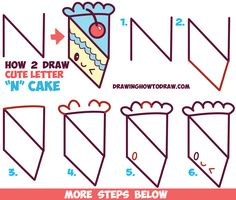 How to Draw a Cute Kawaii Piece of Cake with a Face on it from the Letter 'N' Easy Step by Step Drawing Tutorial for Kids