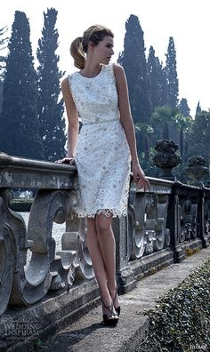 jillian 2016 bridal gowns sleeveless jewel neckline short mini wedding dress lace embroidery floral applique style aosta
