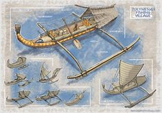 Boat designs based on Ancient Polynesian culture Outrigger Canoe, Hawaiian Decor, Sea Crafts, New Fantasy, Naval History, Polynesian Culture, Boat Design, Fantasy Illustration, Model Ships