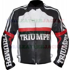 Handmade Multicolor Triumph Racing Motorcycle Leather Jacket Safety Pad XS-6XL #Handmade #BasicJacket