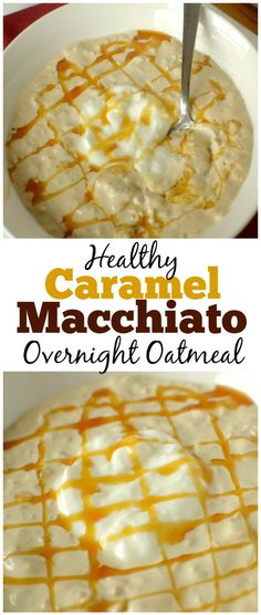 This healthy Caramel Macchiato Overnight Oatmeal tastes like your favorite coffee drink in breakfast form! It is made with only 4 ingredients, gluten-free and can be made vegan and dairy-free too! Pin this clean eating breakfast recipe to try later. Healthy Oatmeal Recipes, Oats Recipes, Healthy Eating Recipes, Healthy Breakfast Recipes, Dessert Recipes, Cooking Recipes, Healthy Breakfasts, Breakfast Smoothies, Oatmeal Flavors