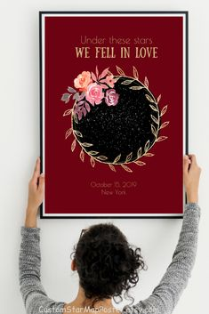 This PRINTABLE custom star map by date & location is excellent PERSONALIZED romantic gift her (sentimental gift for wife)! Please visit our website to select your design and buy it now! Wedding Gifts For Bride And Groom, Wedding Gifts For Couples, Personalized Anniversary Gifts, Anniversary Gifts For Couples, Romantic Gifts For Her, Flower Wall Decor, Sentimental Gifts, Printable, Map