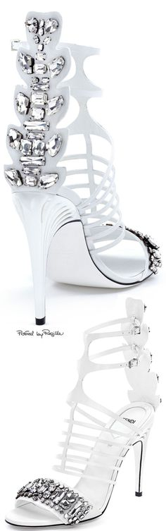 Fendi ~ White Leather Sandals w Crystal Embellished Heels 2015