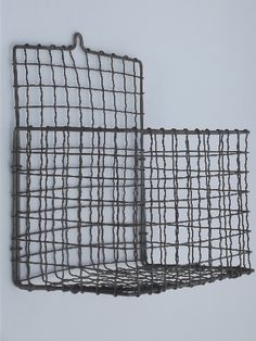 antique wire work crimped wire wall pocket hanging basket, 1920s vintage