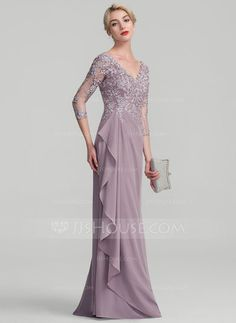 A-Line/Princess V-neck Floor-Length Beading Sequins Cascading Ruffles Zipper Up Sleeves 3/4 Sleeves No Dusk General Plus Chiffon Lace Height:5.7ft Bust:33in Waist:24in Hips:34in US 2 / UK 6 / EU 32 Mother of the Bride Dress