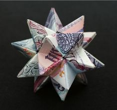 """Polyhedra Series - Dodecahedron  2008  3 bills of foreign currency (Peru, Argentina, Cambodia)  2.5"""" x 2.5"""" x 2.5"""""""