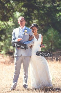 Don't forget your thank you cards! Bringing a signs for your photos can make for some real cute thank you cards to your guests. #wedding #weddingplanning #weddingideas
