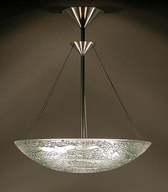 """Water Series Deep Bowl""  Art Glass Pendant Lamp by George Scott. Hand cut shards of glass are fused to a round which is slumped into a bowl form. Each unique piece maintains its organic nature, but every segment and droplet is distinct from those on any other shade"