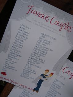 In this star-studded game, players race to match each celebrity with his or her correct partner. There are a few different ways to play this game. You could type a list of half of the couple and have guests name the corresponding partner, or you could make it a multiple-choice challenge. Or, you could have players race against the clock to list as many celebrity couples as they can.    Read more: Jack & Jill Wedding Shower Games | eHow.com