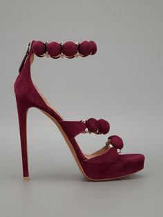Alaïa Disc and Studded Embellished Ankle Strap Suede Sandals Spring 2013