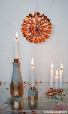 Kupfer - Zement- Kerzenleuchter Copper - Cement - candleholders