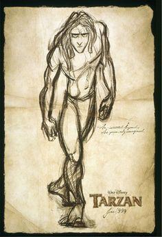 An original, rolled, double-sided, advance one-sheet movie poster x from 1999 for Walt Disney's Tarzan. Art by Glen Keane. Disney Pictures, Disney Sketches, Disney Drawings, Movie Posters, Animated Movies, Glen Keane, Disney Love, Walt Disney Animation, Animation