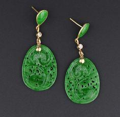 Diamond Jade 14K Gold Chandelier Earrings, Non Dyed, GIA Report