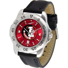 """Florida State Seminoles NCAA AnoChrome """"Sport"""" Mens Watch (Leather Band) by SunTime. $53.10. Scratch Resistant Face. Rotation Bezel/Timer. Calendar Date Function. This handsome, eye-catching watch comes with a genuine leather strap. A date calendar function plus a rotating bezel/timer circles the scratch-resistant crystal. Sport the bold, colorful, high quality logo with pride. The AnoChrome dial option increases the visual impact of any watch with a stunning rad..."""