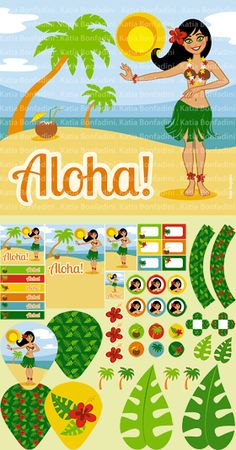 Ilustração e kit digital para FESTA HAVAIANA/LUAU