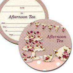 Party Ark's 'Vintage Florals Afternoon Tea Invitation Coasters'