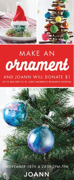 'Tis the season of giving and festive craft projects. See how the two combine by making a holiday ornament at JOANN stores November & With each decoration made, a donation will be given to St. Jude Children's Research Hospital—who knew f Holiday Ornaments, Christmas Bulbs, Christmas Crafts, Christmas Decorations, Holiday Decor, Homemade Ornaments, Christmas Deals, Holiday Mood, Christmas Things