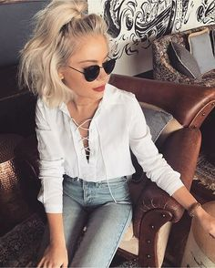 summer outfits White Lace-up Blouse + Skinny Jeans 2019 – Sommer Garten Hochzeits Kleider Look Fashion, Fashion Beauty, Fashion Outfits, Latest Fashion, Fashion Ideas, Fashion Trends, Summer Outfits, Casual Outfits, Cute Outfits