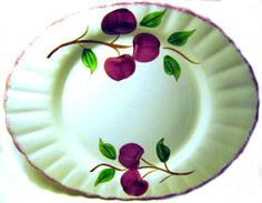 Blue Ridge Southern Potteries #Crabapple 14 inch Oval #Platter, Red Fruit China Made in USA 1950s