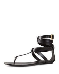 X2M4E Gucci Leather Ankle-Wrap Sandal, Nero