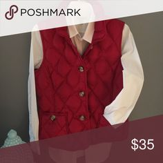 Ruby red vest❤️ Beautiful Talbots casual vest. Pristine condition. Detail is in the tortoise shell buttons. Size M Talbots Jackets & Coats Vests