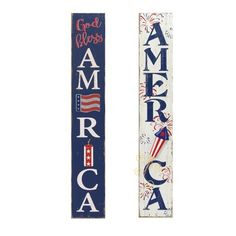 Gerson International High Antiqued Wooden Patriotic Wall Hangings, Set of 2 at Lowe's. Fun and festive, these antique-styled wooden patriotic wall hangings will cheer up any space for the Fourth of July. Perfect for hanging on your front Porch Signs, Door Signs, Wall Signs, Wall Plaques, Wall Decor Set, Wall Art Sets, America Sign, July Crafts, Patriotic Crafts