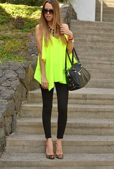 Neon top with black skinny jeans