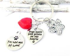 Paw Keychain, Heart Keychain, Pet Keychain, Pet Loss Gift, Car Accessories, Pet Ashes Keychain