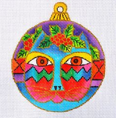 Needlepoint Handpainted Canvas CHRISTMAS Laurel Burch CAT Face