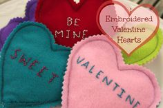 Embroidered Valentine Hearts/ {I Love} My Disorganized Life #valentines #embroidery #hearts