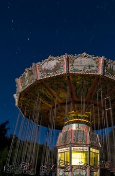 Wave Swings ride at Michael Jackson's Neverland ... long-exposure photo taken by moonlight in the abandoned park