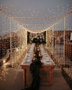 Under a canopy of twinkling fairy lights, this magical wedding in Santorini on a terrace overlooking the ocean is the destination wedding of our dreams! - A Magical Wedding in Santorini Under a Canopy of Fairy Lights ⋆ Ruffled Romantic Dinner Setting, Romantic Dinners, Romantic Picnics, Romantic Getaways, Romantic Travel, Santorini Wedding, Greece Wedding, Santorini Travel, Greece Travel