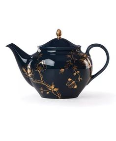 Lenox Sprig & Vine Porcelain Teapot, Navy Ground and Gold Decor. Sprig & Vine Tea Pot looks like a lush English Garden. Inspired by vintage textiles and natural botanicals. Bold colors on a white porcelain body. Gold-tone finial on tea pot lid. Kintsugi, Scandinavian Modern, Chinoiserie, Sugar Bowl, Glass Teapot, Norman Foster, Ceramic Teapots, Pottery Teapots, Herbs