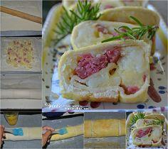 Rotolo di pane al forno con patate e salsiccia