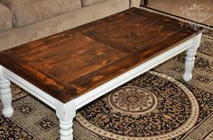 Coffee Table Redo - Cherished Bliss stained top distressed white base