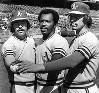 "A's three 20 game winners, Jim ""Catfish"" Hunter, Vida Blue and Ken Holtzman.Photo Ron Riesterer"